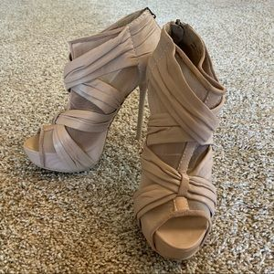 L.A.MB. Nude Leather & Mesh Stiletto Booties Sz7
